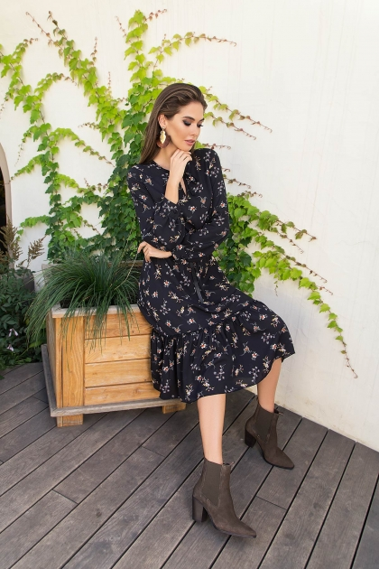 . Платье Агафия-1 д/р. Цвет: черный-м.букет в Украине
