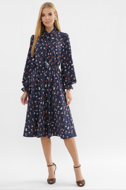 . Платье Дельфия д/р. Цвет: синий-оранж.м.цветок цена