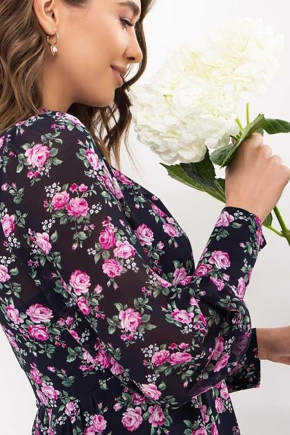 . Платье Мануэла д/р. Цвет: синий-розов. Розы в интернет-магазине