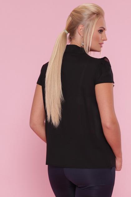 черная блузка батал. Блуза Федерика-Б к/р. Цвет: черный купить
