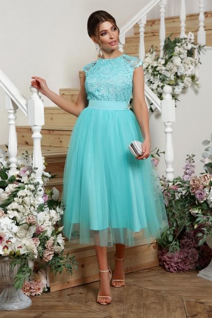 пышное платье миди. Платье Джуди б/р. Цвет: мята цена