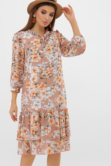 платье хаки из шифона. Платье Элисон 3/4. Цвет: бежевый-цветы оранж. купить