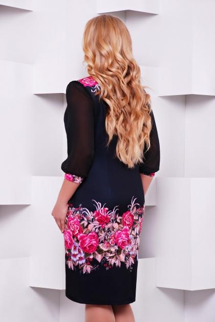 Платье батал с шифоновыми рукавами. Цветочная композиция Платье Талса-1Б д/р. Цвет: принт купить