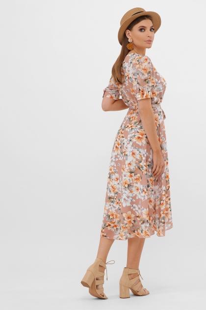 . Платье Алеста к/р. Цвет: бежевый-цветы оранж. в интернет-магазине