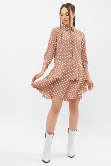 . Платье Салима 3/4. Цвет: капучино-белый горох цена