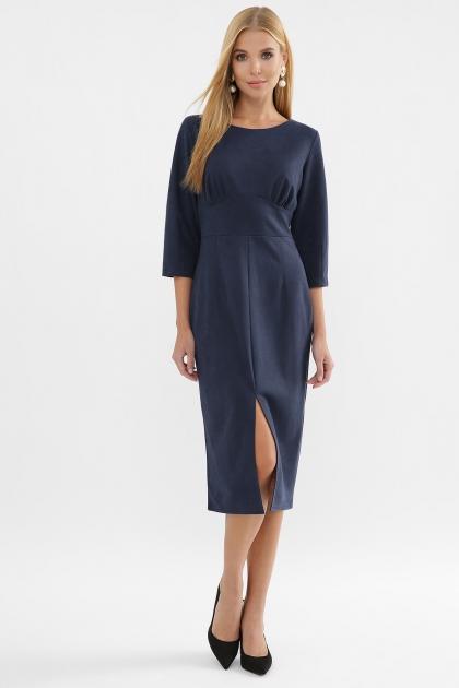 серое платье из замши. Платье Констанция 3/4. Цвет: синий в Украине