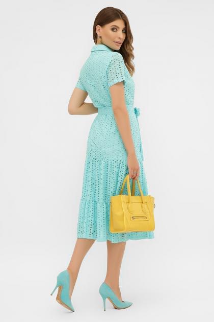 персиковое платье из хлопка. Платье Уника 1 к/р. Цвет: бирюза в интернет-магазине