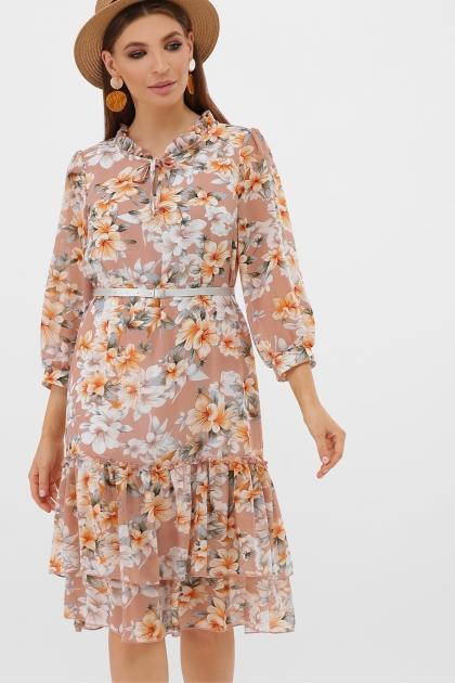 платье хаки из шифона. Платье Элисон 3/4. Цвет: бежевый-цветы оранж. цена