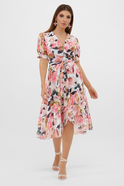 . Платье Алеста к/р. Цвет: белый-розы цена