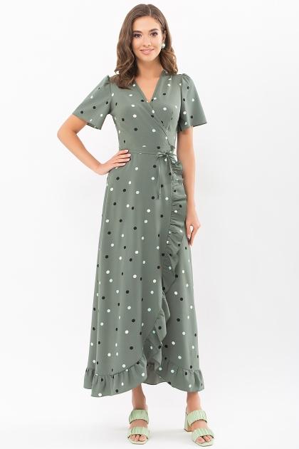 платье хаки в горошек. Платье Румия к/р. Цвет: хаки-горох цветной купить