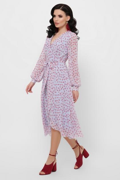 нежное платье на запах. Платье Алеста д/р. Цвет: голубой-цветы красн. в интернет-магазине