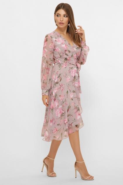 нежное платье на запах. Платье Алеста д/р. Цвет: капучино-розы розов. цена