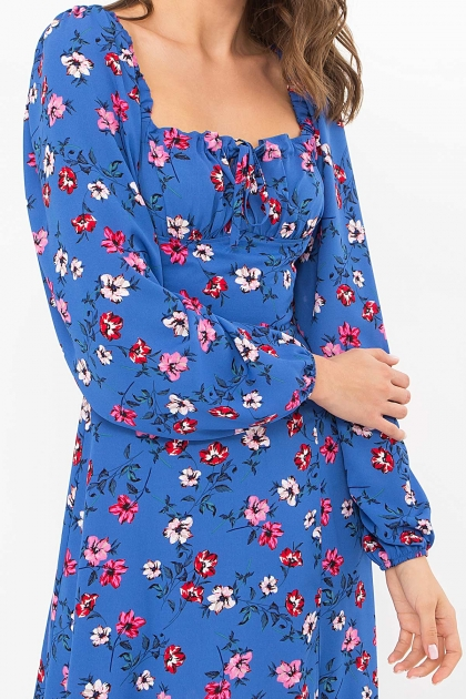 лавандовое платье с цветочным принтом. Платье Валия д/р. Цвет: джинс-цветочки в интернет-магазине