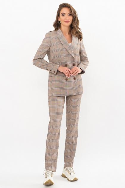 двубортный пиджак в клетку. Пиджак Элейн К д/р. Цвет: клетка коричнево-синяя купить