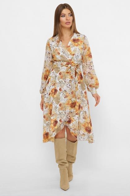 нежное платье на запах. Платье Алеста д/р. Цвет: белый-цветы оранж. цена
