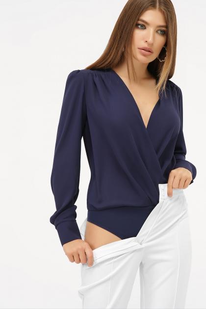 белая блузка-боди. Блуза-боди Карен д/р. Цвет: синий купить