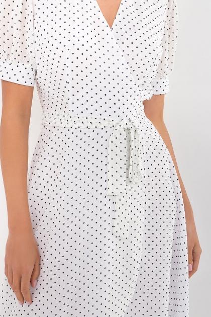 . Платье Алеста к/р. Цвет: белый-черный м. горох в интернет-магазине