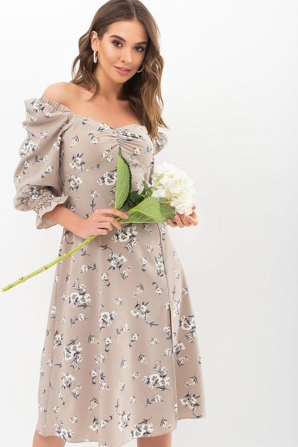 . Платье Пала д/р. Цвет: бежевый-белый букет купить
