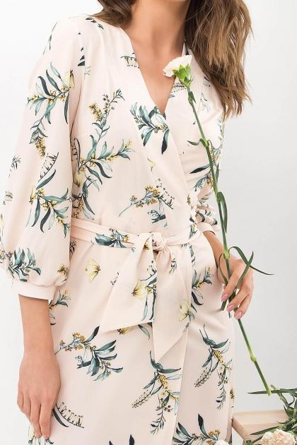 платье на запах из софта. Платье Сафура 3/4. Цвет: персик-ветка в интернет-магазине