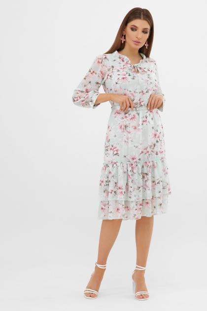 платье хаки из шифона. Платье Элисон 3/4. Цвет: мята-цветы розов. цена