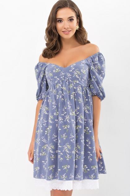 . Платье Эсмина к/р. Цвет: джинс-полевые цветы купить