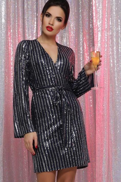 платье на новый год с пайетками. Платье Земфира д/р. Цвет: синий-серебро цена