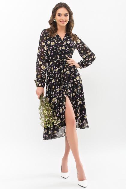 . Платье Алеста д/р. Цвет: черный-желтый цветок купить