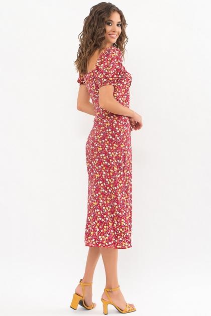 . Платье Билла к/р. Цвет: красный-желтые Розы цена