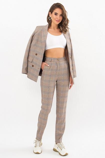 двубортный пиджак в клетку. Пиджак Элейн К д/р. Цвет: клетка коричнево-синяя в интернет-магазине