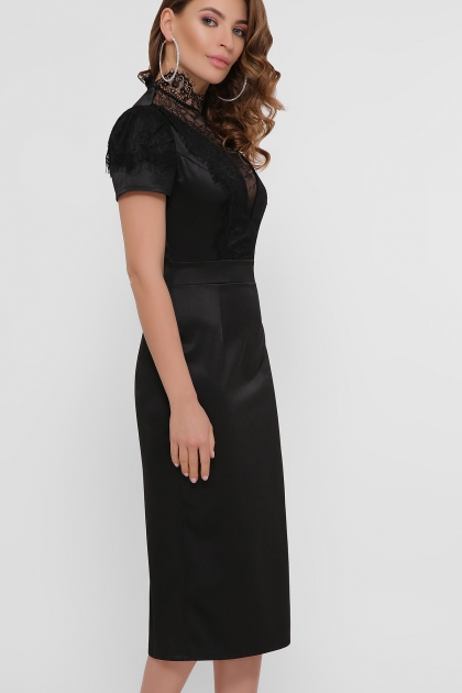 кружевное атласное платье. Платье Дафния к/р. Цвет: черный цена