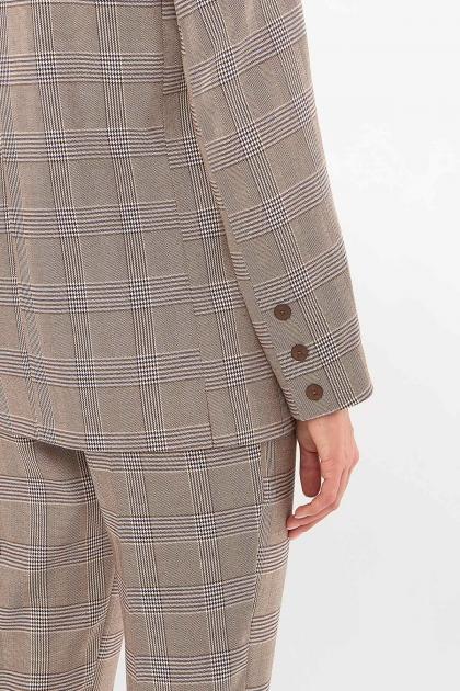 двубортный пиджак в клетку. Пиджак Элейн К д/р. Цвет: клетка коричнево-синяя недорого