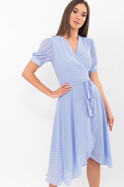 . Платье Алеста к/р. Цвет: голубой-черный м.горох купить