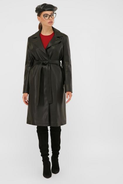 кожаный плащ коричневого цвета. Плащ 108-100 (К). Колір: 601-черный цена