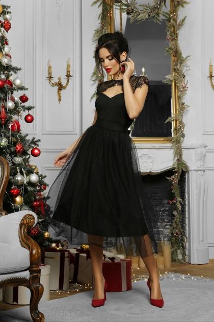 черное платье с кружевом. Платье Флориана к/р. Цвет: черный в Украине