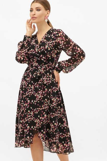 . Платье Алеста д/р. Цвет: черный-лепестки цена