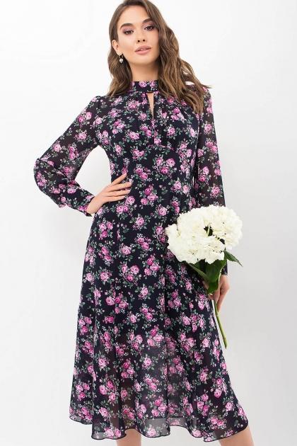 . Платье Мануэла д/р. Цвет: синий-розов. Розы купить
