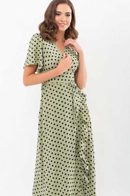 платье хаки в горошек. Платье Румия к/р. Цвет: хаки-черный горох цена