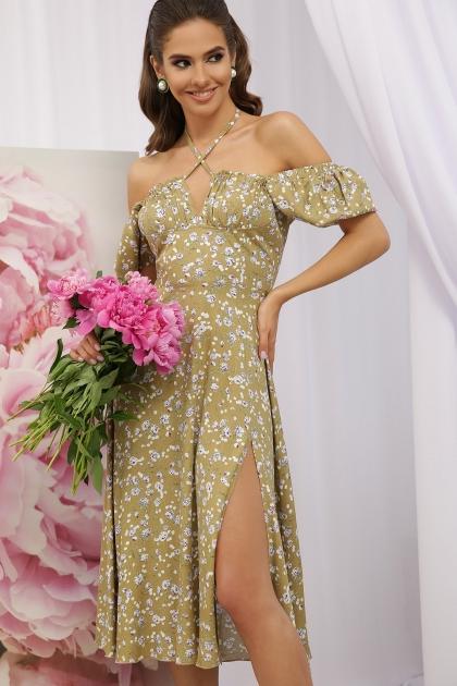. Платье Билла к/р. Цвет: оливковый-сиреньРозы цена