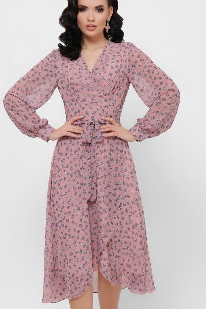 нежное платье на запах. Платье Алеста д/р. Цвет: лиловый-цветы синие купить