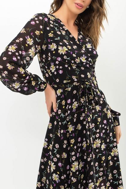. Платье Алеста д/р. Цвет: черный-желтый цветок в Украине