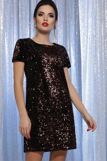 синее платье с пайетками. Платье Ираида к/р. Колір: черный-бронза купить