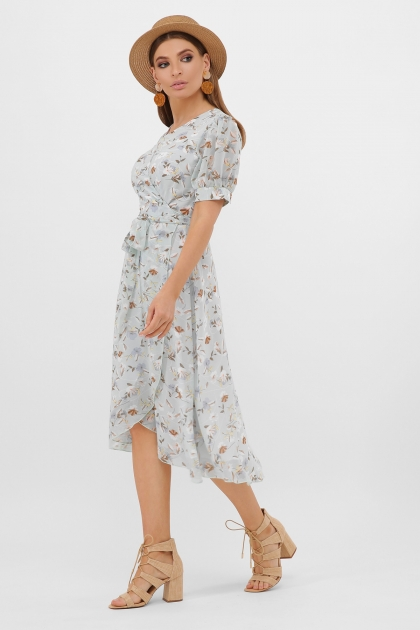 . Платье Алеста к/р. Цвет: мята-цветы цена