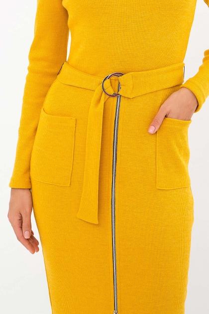 теплое платье-футляр. Платье Виталина 1 д/р. Цвет: горчица в интернет-магазине