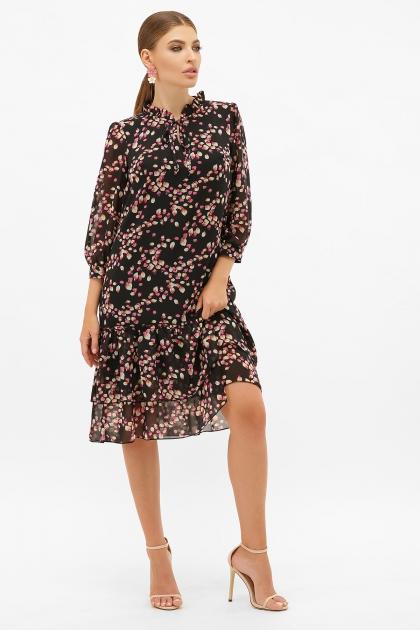платье хаки из шифона. Платье Элисон 3/4. Цвет: черный-лепестки цена