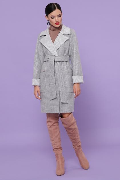 демисезонное песочное пальто. Пальто П-347-М-90. Цвет: 15-св.серый купить