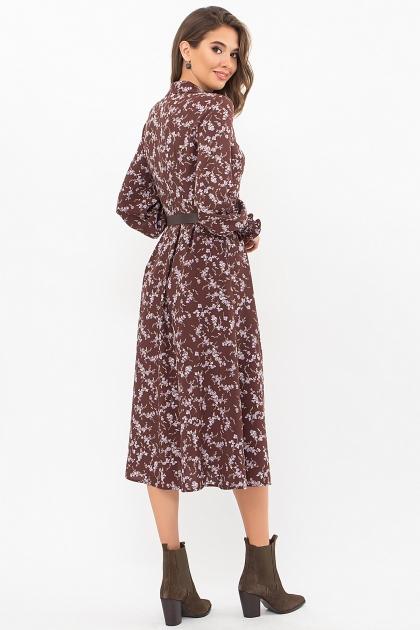синее платье с поясом. Платье Кария д/р. Цвет: шоколад-сирен.цветок цена