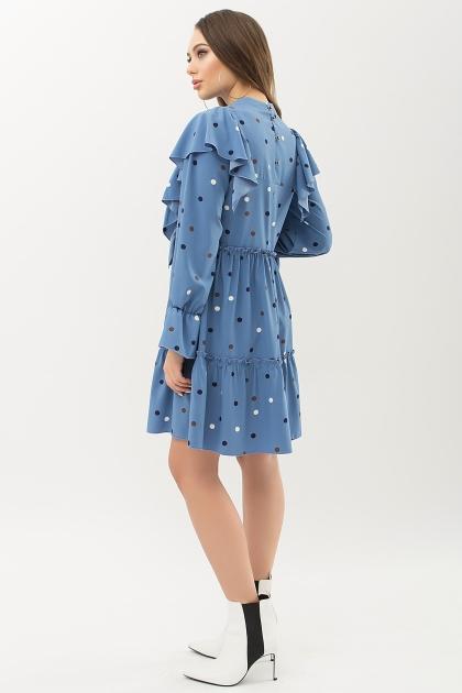 синее платье в горошек. Платье Лесса д/р. Цвет: джинс-горох цветной купить