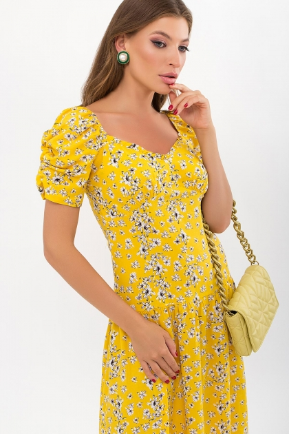 . Платье Никси к/р. Цвет: желтый-белые цветы в интернет-магазине