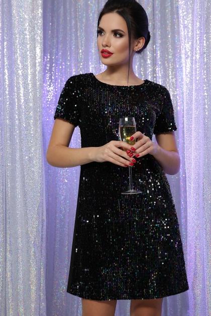 черное платье с пайетками. Платье Ираида к/р. Цвет: черный-хамелеон купить