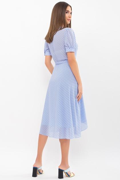 . Платье Алеста к/р. Цвет: голубой-черный м.горох цена
